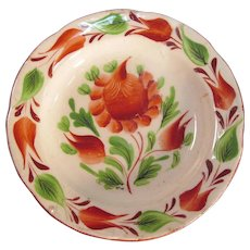 Gaudy Floral Miniature Plate ca. 1825 (restored)