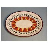 Decorated Creamware Reticulated Tray