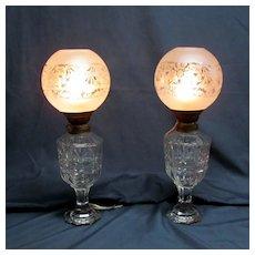 Pair Antique Cut Glass Oil Lamps