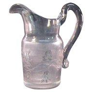 Flint Bellflower Water Pitcher ca. 1850