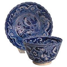 "Staffordshire Blue Transfer ""Bird"" Cup/Saucer ca.1825-35"