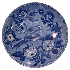 Staffordshire Blue Transfer Saucer Birds ca. 1830