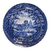 "Clews Staffordshire Plate ca. 1830 ""Fisherman Near Bridge"""
