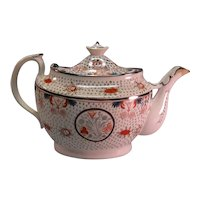Silver Luster Decorated Teapot (spout repair) ca. 1810