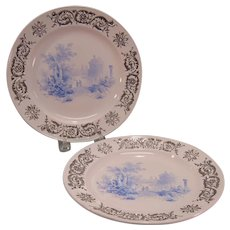 Pair Plates with Transfer Scenes and Silver Luster Borders ca. 1835