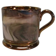 "Child's Copper Luster ""Marble"" Mug ca. 1840"
