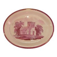 Pink Luster Oval Teapot Stand ca. 1840
