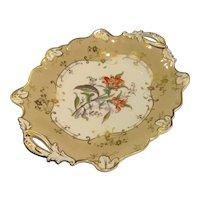 English Porcelain Floral Painted Dessert Dish ca. 1840