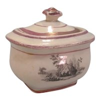 Toy Sugar Bowl with Transfer and Luster ca. 1835