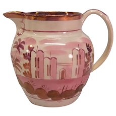 Pink Luster Creamware Pitcher ca. 1830