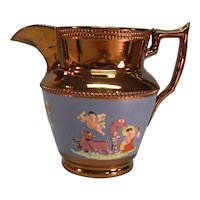 Copper Luster Pitcher with Relief Classical Scenes ca. 1840