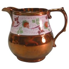 Copper Luster Strawberry Pitcher ca. 1840
