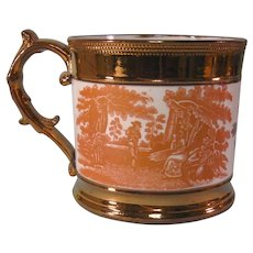 Staffordshire Cider Mug with Transfer and Luster ca. 1825