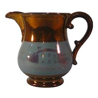 Copper Luster Pitcher with House Decoration ca. 1845-50