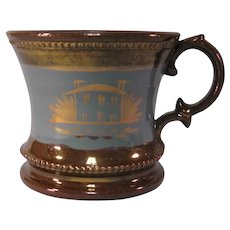 Copper Luster Mug with House Decoration ca. 1845-50