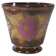 Copper Luster Beaker with Painted Floral Decoration ca. 1845