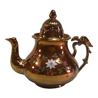 Copper Luster Teapot with Bird handle ca. 1845