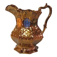 Copper Luster Relief Molded Pitcher ca. 1845-55