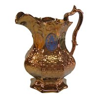 """Copper Luster """"Gothic"""" Relief Molded Pitcher ca. 1845-55"""