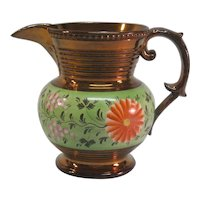 Copper Luster Pitcher with Bright Green ca. 1840