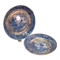 Two English Blue Willow Pattern Dishes ca. 1810