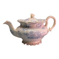 "Staffordshire Light Blue ""Fruits and Flowers"" Teapot ca. 1830"