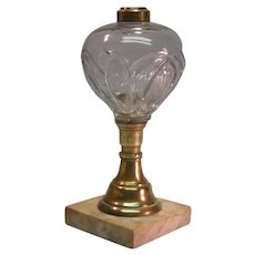 Marble and Brass Base Oil Lamp ca. 1860