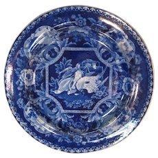 "Dark Blue ""Game Birds"" Staffordshire Plate ca. 1830"