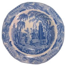 "Davenport Blue Transfer ""Chinoiserie Ruins"" Soup Plate ca. 1825"