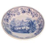 Large Blue Staffordshire Transfer Bowl ca. 1830