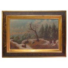 19th Century Winter Scene Oil Painting