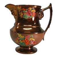 "Copper Luster ""Mask Spout"" Pitcher ca. 1845"