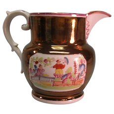 Copper Luster Pitcher with Chinoiserie Transfers ca. 1840