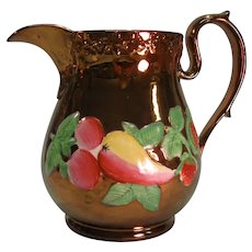 Large Copper Luster Pitcher with Fruit Decor ca. 1840
