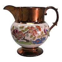 Copper Luster Pitcher with Chinoiserie Transfer ca. 1825