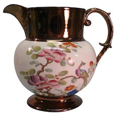 Copper Luster Pitcher with Exotic Transfer ca. 1825