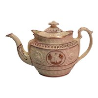 Oval Teapot with Pink Luster ca. 1820