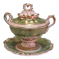 English Porcelain Sauce Tureen on Stand ca. 1845