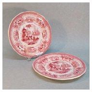 """Pair Transferware Plates """"Palestine"""" ca. 1835-40"""