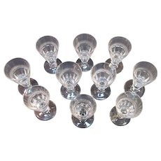 Set of 10 Early Blown and Cut Wineglasses