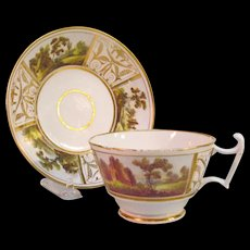 English Porcelain Cup/Saucer with Scenic Panels ca. 1815