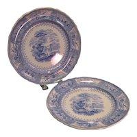 "Pair Blue and White ""Canova"" Staffordshire Plates ca. 1835"