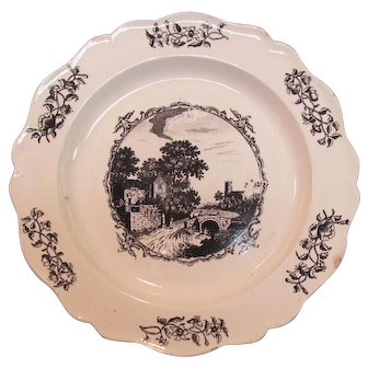 Creamware Plate with Black Transfer ca. 1795