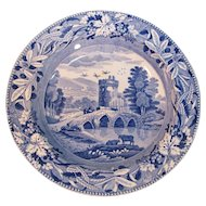 "Spode Blue and White ""Bridge of Lucano"" Soup Plate ca. 1820"