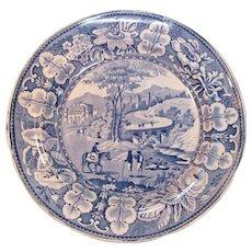 Staffordshire Blue Transfer Plate ca. 1835
