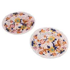 "Pair Colorful English Floral ""Japan"" Soup Plates ca.1840"