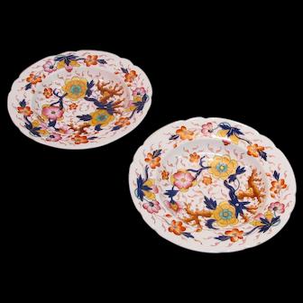 "Pair Colorful English Floral ""Japan"" Soup Plates ca.1840"