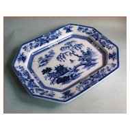 Enormous Flow Blue Ironstone Platter circa 1850