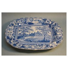 """Staffordshire Blue and White Platter """"Angus Seats"""""""