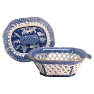Staffordshire Blue Transfer Basket on Stand circa 1820